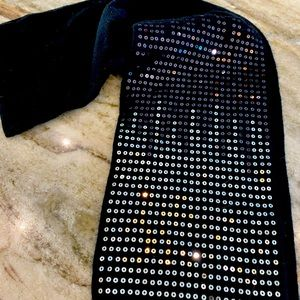 Accessories - Black Sweater Scarf with Sequins
